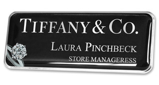 Prestige Premium name badges - Silver border and black / silver chrome background | www.namebadgesinternational.co.uk